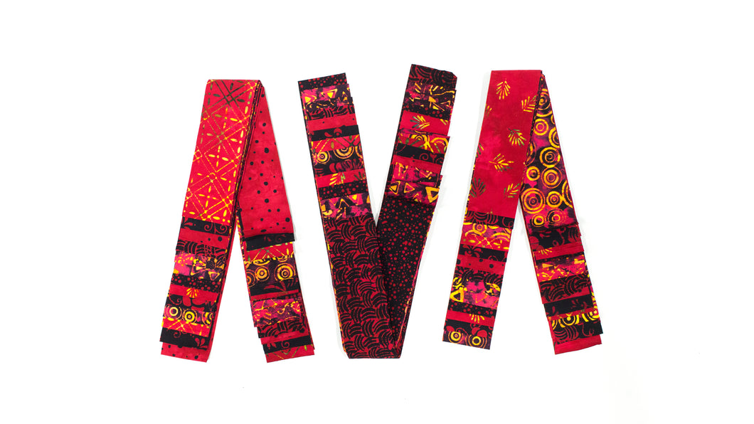 Bali Cotton Batik Strip Kits-02901 Red, black, gold