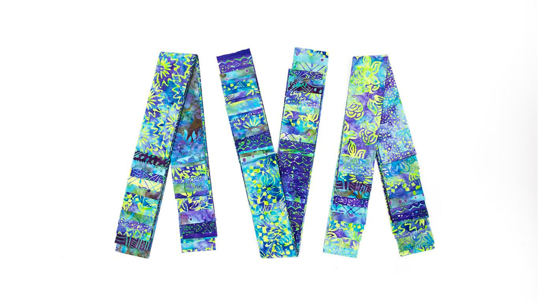 Bali Cotton Batik Strip Kits-02910 Blue, Turquiose, Lime Green