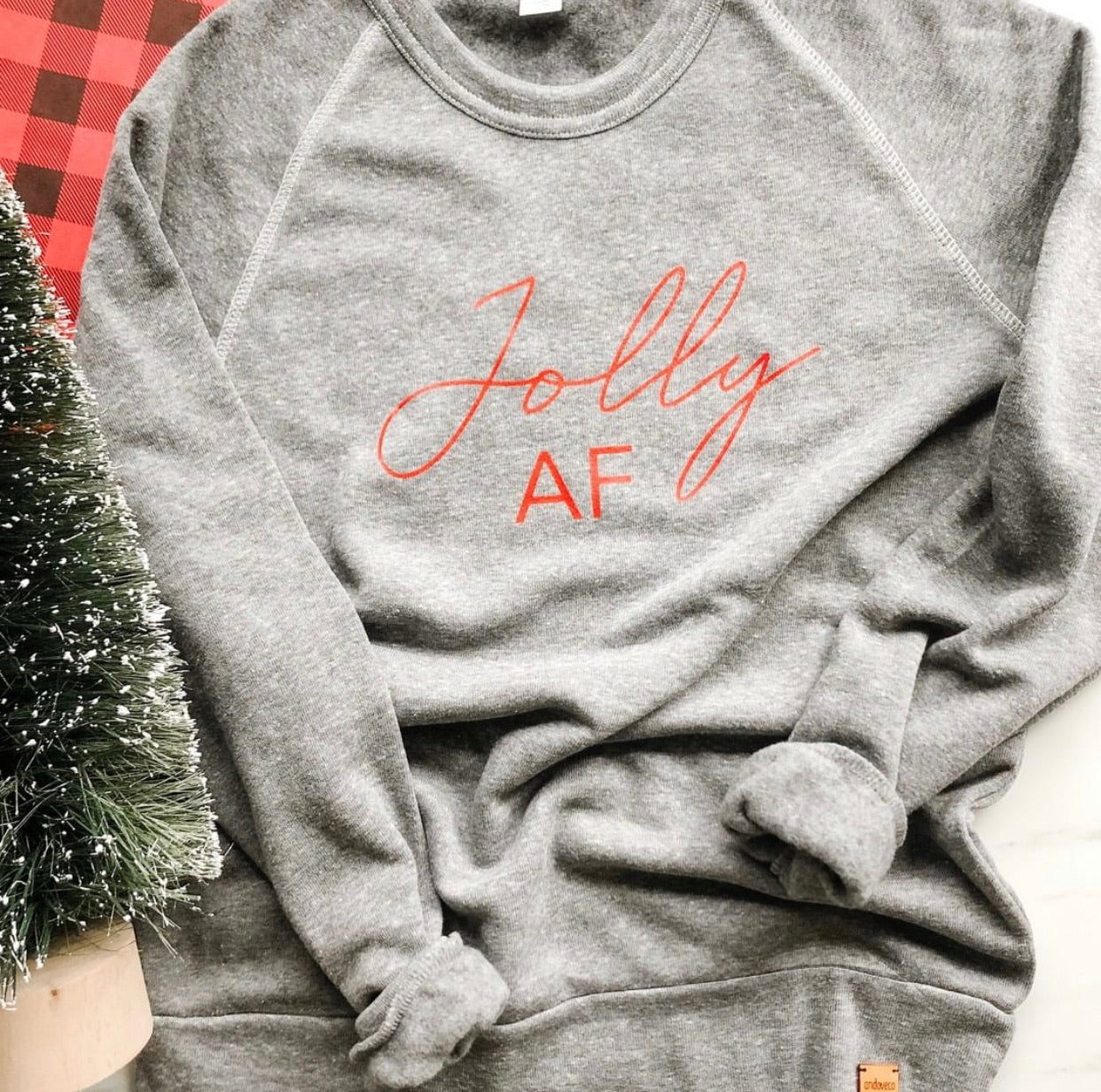 Jolly AF Christmas Crewneck Sweater - andoveco
