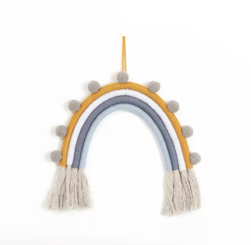 Pompom Woven Rainbow Wall Hanging (3 options) - andoveco