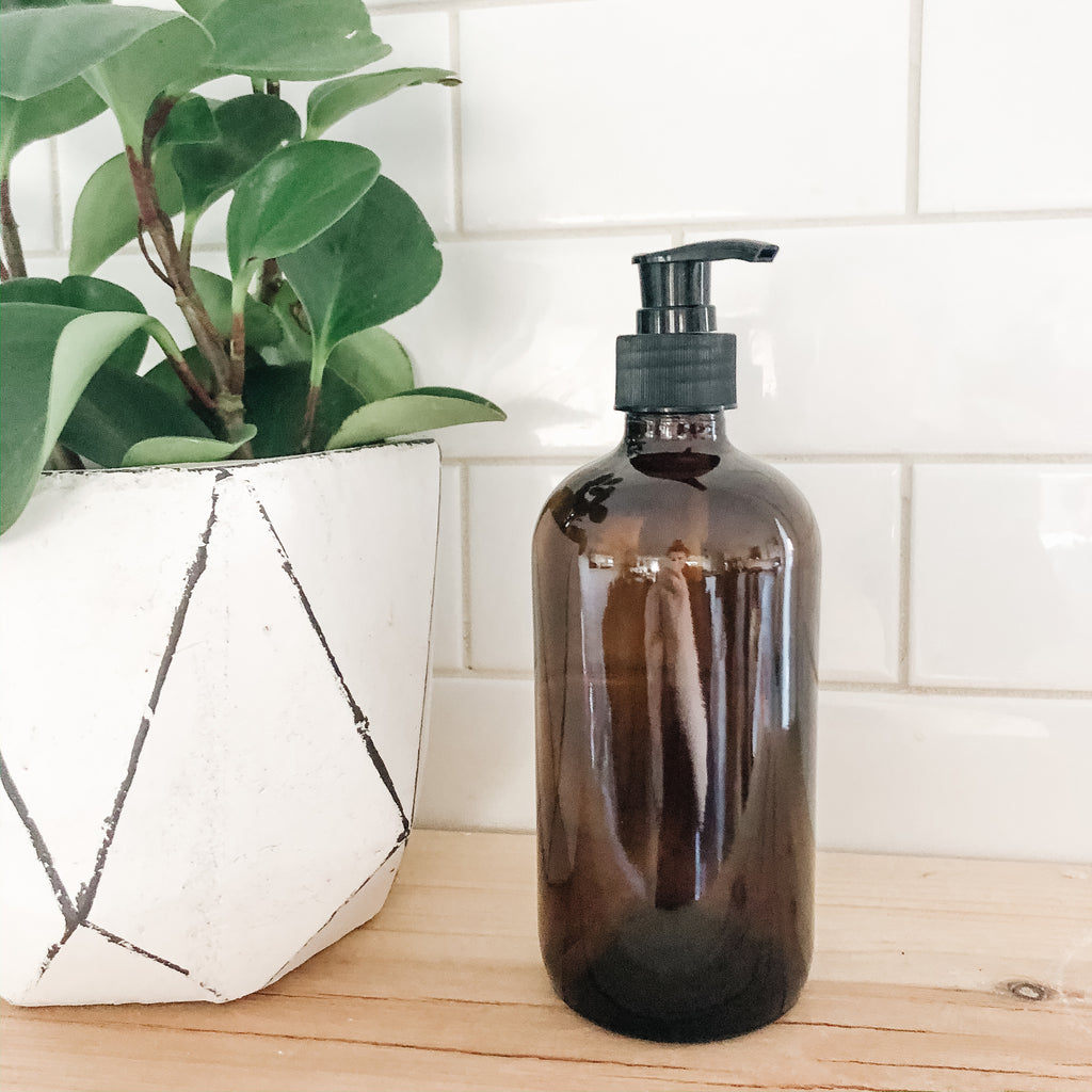 Amber Glass Pump Bottle (500ml) - andoveco