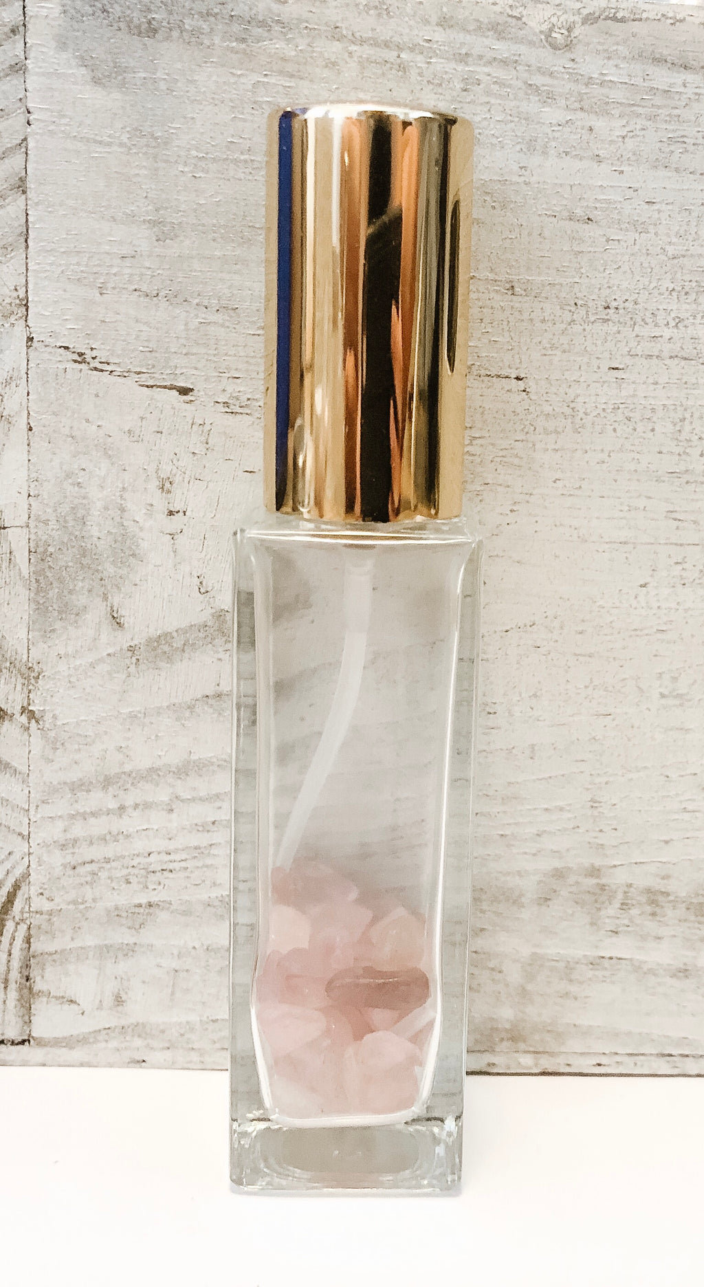 Large Square Glass Spray with Gold Top - andoveco