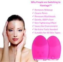 Load image into Gallery viewer, AfriSkin Flamingo | Experience the natural way to get clear, flawless skin by AfriSkin™. Flamingo™ is a silicone, bacteria resistant face washing tool that gently serves as an acne treatment, acne home remedies, blackhead and whitehead prevention, comedones, papules, rosacea, acne symptoms, mild acne, acne vulgaris, pimples, etc.