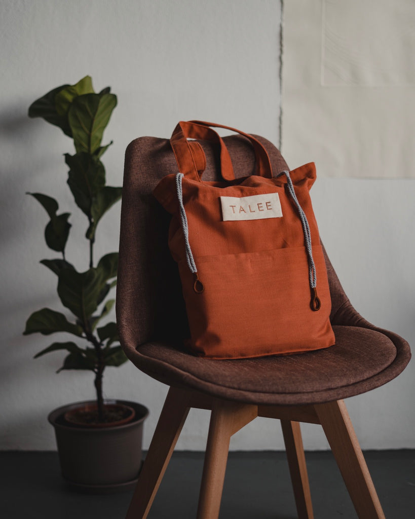 Sunrise tote  - Tangerine / Wheat