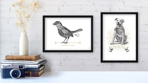 Vintage bird and dog prints
