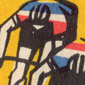RETRO CYCLISTS PRINT DETAIL