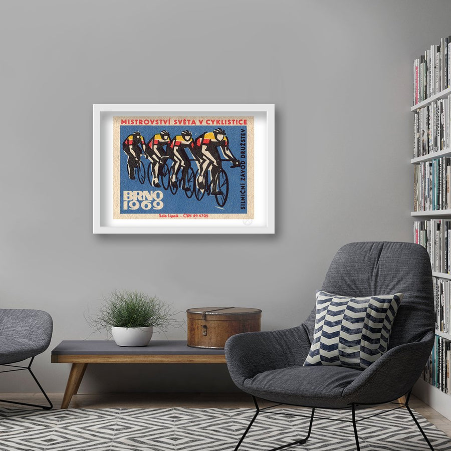 mid century blue cyclists print
