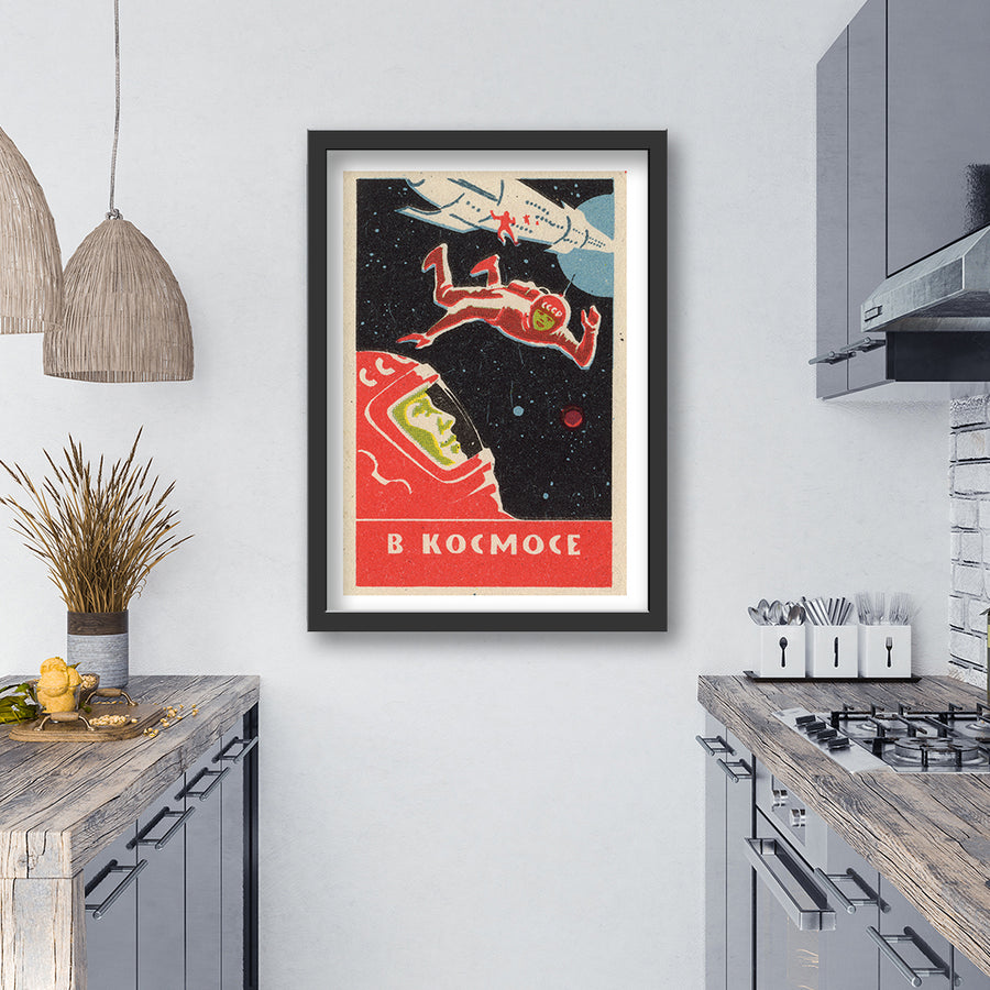 space men art print black frame