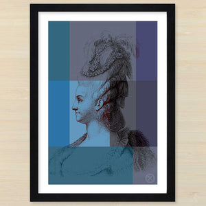 Marie Antionette (blue) black frame. Pencil and Hammer