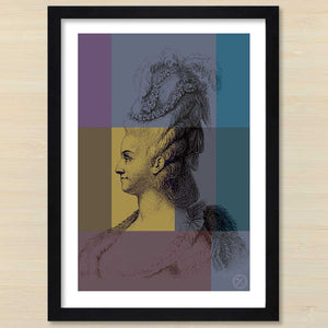 Marie Antionette (gold) black frame. Pencil and Hammer
