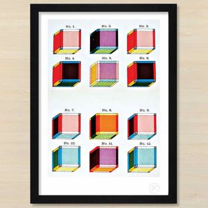 Tesseract art print. Black frame. Pencil and Hammer