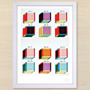 Tesseract art print. White frame. Pencil and Hammer