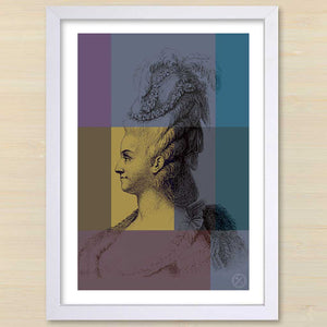 Marie Antionette (gold) white frame. Pencil and Hammer