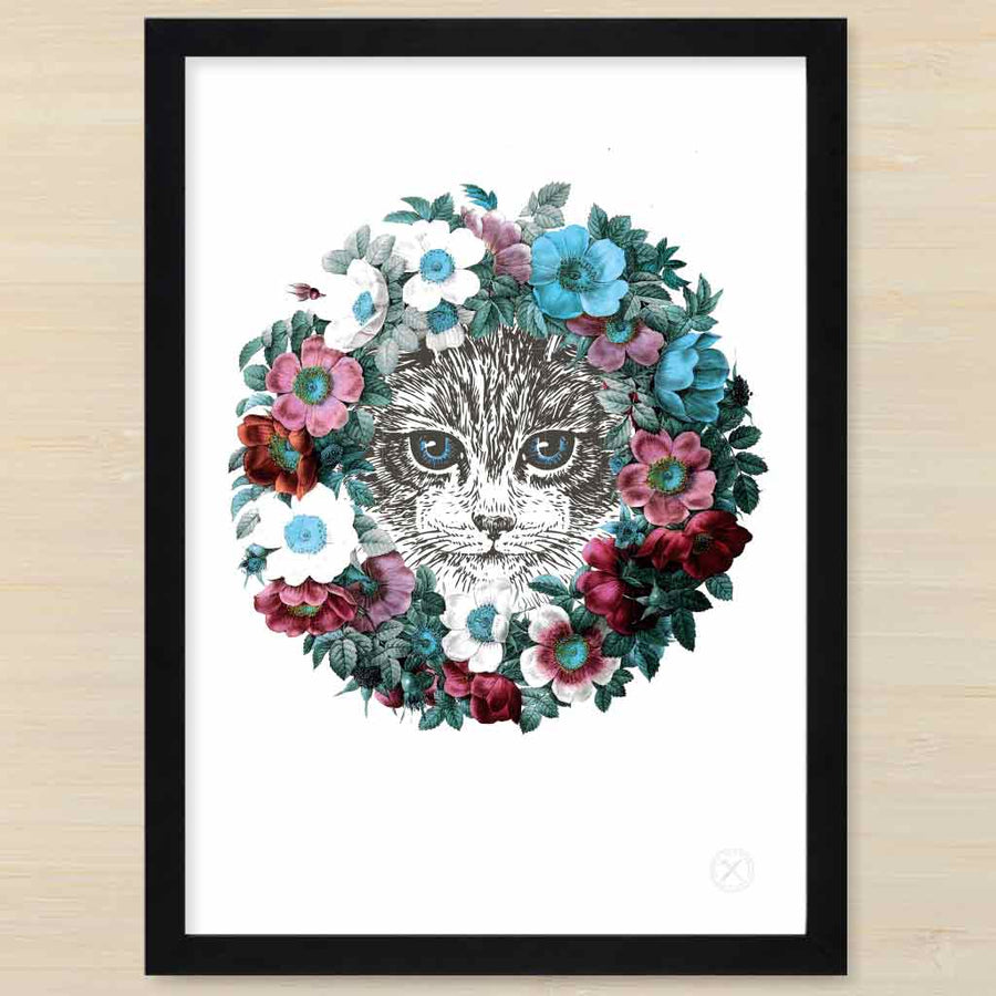 Kitten cat with floral wreath. Pencil and Hammer