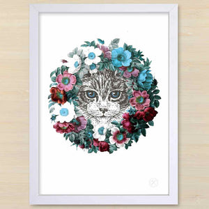 Vintage Kitten with floral wreath. Pencil and Hammer