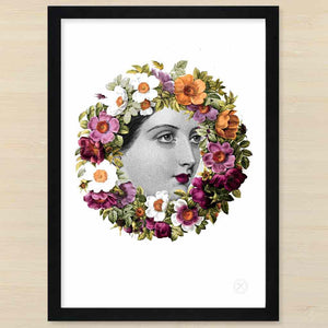 Victorian lady with floral wreath Flora. Black frame. Pencil and Hammer