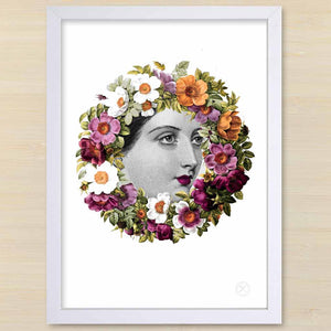 Victorian lady with floral wreath Flora. White frame. Pencil and Hammer