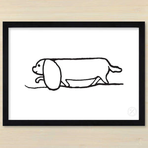 Daschund art print black frame -Pencil and Hammer