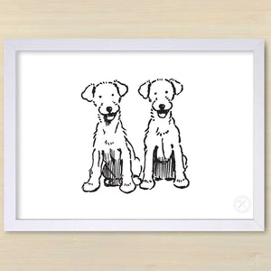 Bob & Babs art print. White frame.Pencil and Hammer.