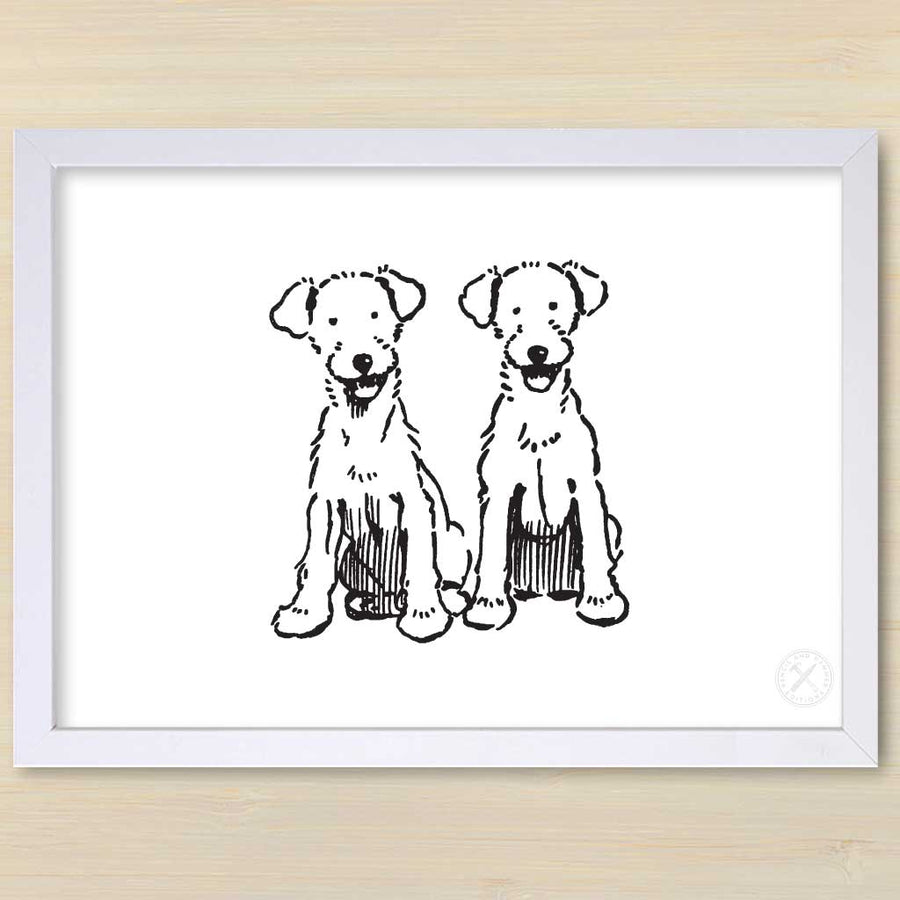 Bob & Babs art print. Black frame.Pencil and Hammer.