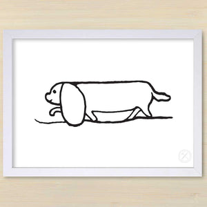 Daschund art print white frame -Pencil and Hammer