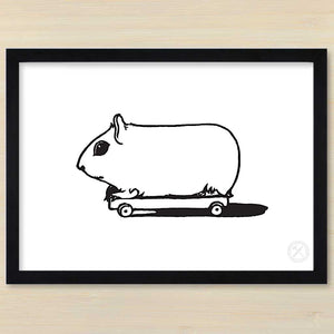 Guinea Pig on Wheels art print. Black frame. Pencil and Hammer