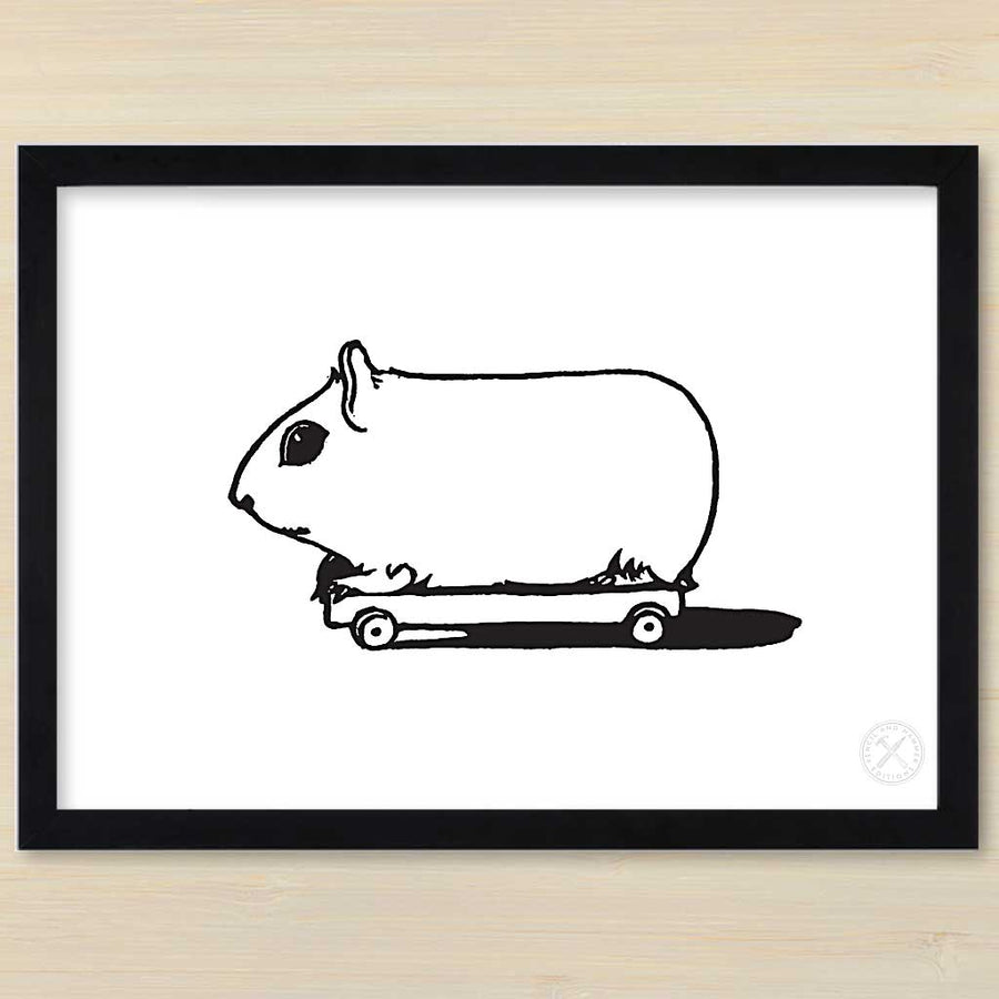 Guinea Pig on Wheels art print. Pencil and Hammer