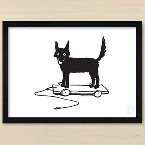 Fox on Wheels art print. Black frame.Pencil and Hammer