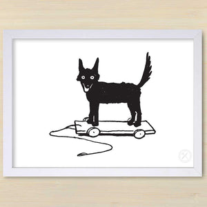 Fox on Wheels art print. White frame.Pencil and Hammer