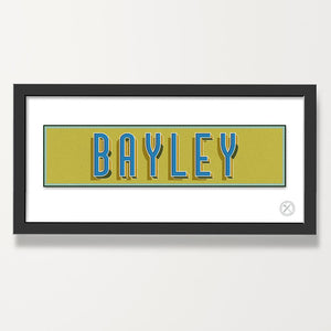Retro name personalised print blue green