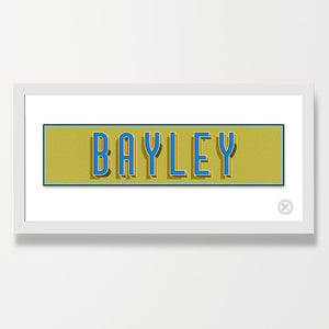 Retro name customised print blue green
