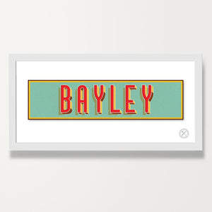 Retro name print red blue