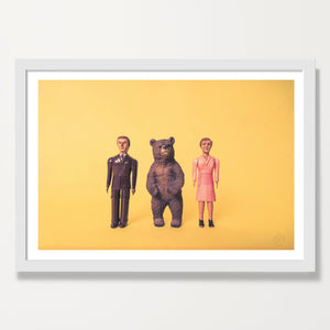 Bear and Friends art print. White frame