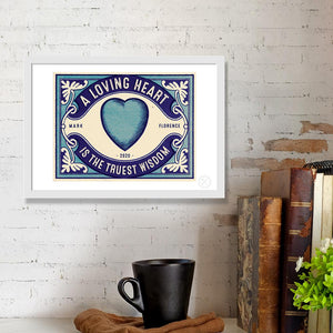 Blue heart personalised print
