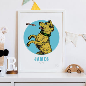 Dog personalised art print