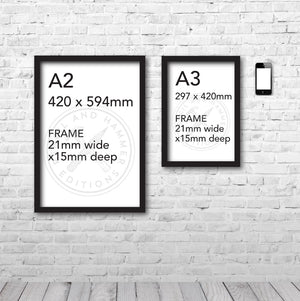 Print and frame sizes