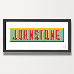 Retro name customised print red blue