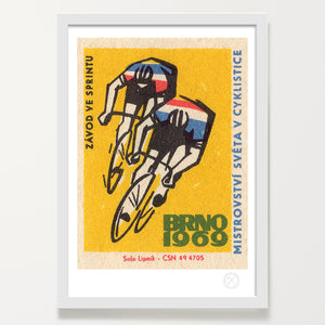 mid century cyclists art print