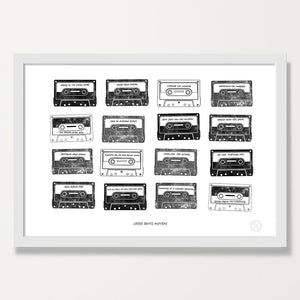 Personalised Mixtape print -Jet. white frame