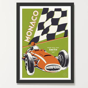 Moss Pumpkin racing car print