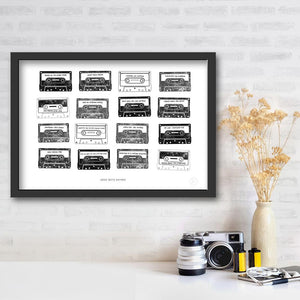 Mixtape personalised art print Jet