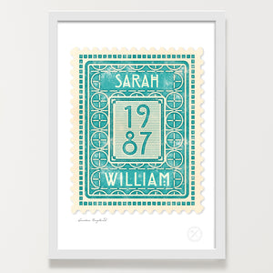Personalised vintage stamp aqua