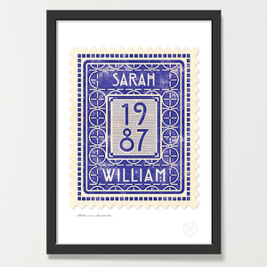 Personalised vintage stamp art print indigo