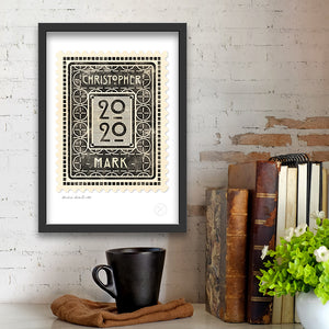 Personalised vintage stamp midnight