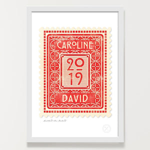 Personalised vintage stamp print ruby
