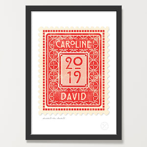 Personalised vintage stamp art print ruby
