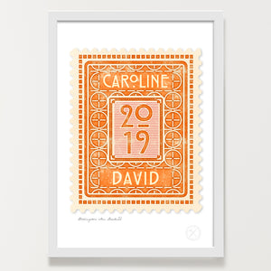 Personalised vintage stamp art print amber