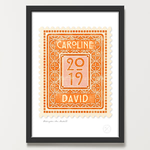 Personalised stamp art print amber