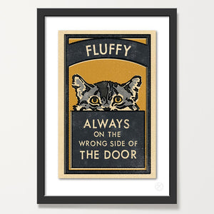 Personalised cat matchbox retro art print. grey/inky