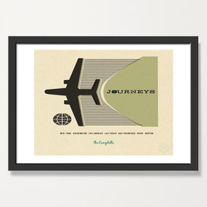 Personalised travel print sage. black frame